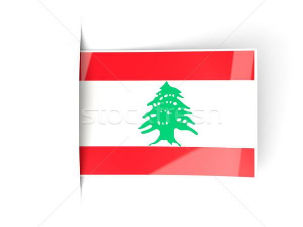 ストックフォト: 広場 · ラベル · フラグ · レバノン · 孤立した · 白