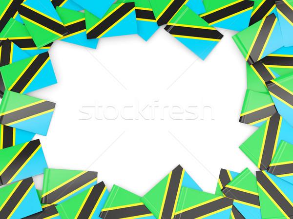 Rahmen Flagge Tansania isoliert weiß Stock foto © MikhailMishchenko