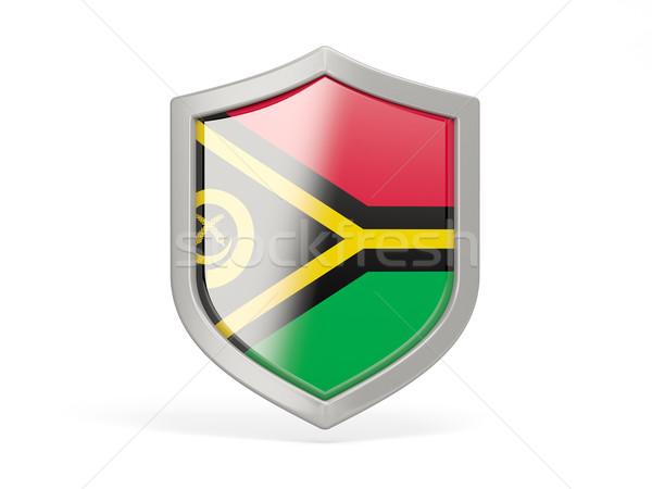 Escudo ícone bandeira Vanuatu isolado branco Foto stock © MikhailMishchenko
