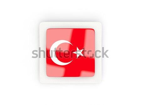 Stock photo: Bent icon with flag of turkey
