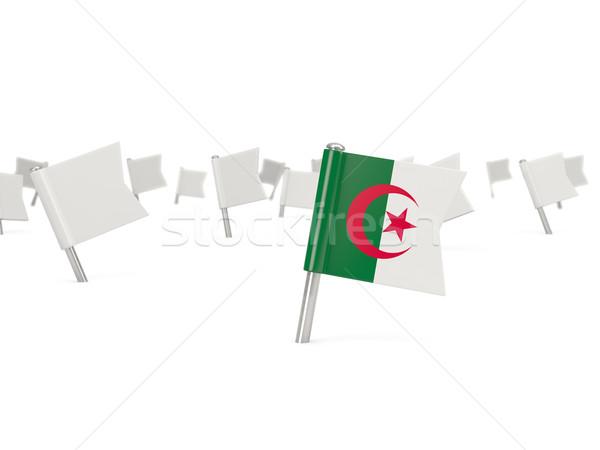 Carré broches pavillon Algérie isolé blanche Photo stock © MikhailMishchenko