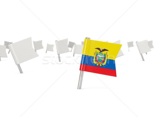 Vierkante pin vlag Ecuador geïsoleerd witte Stockfoto © MikhailMishchenko
