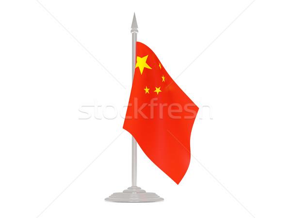 Pavillon Chine mât rendu 3d isolé blanche Photo stock © MikhailMishchenko