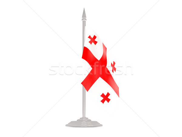 Banderą Gruzja maszt 3d odizolowany biały Zdjęcia stock © MikhailMishchenko