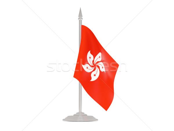 Bandera Hong Kong asta de bandera 3d aislado blanco Foto stock © MikhailMishchenko
