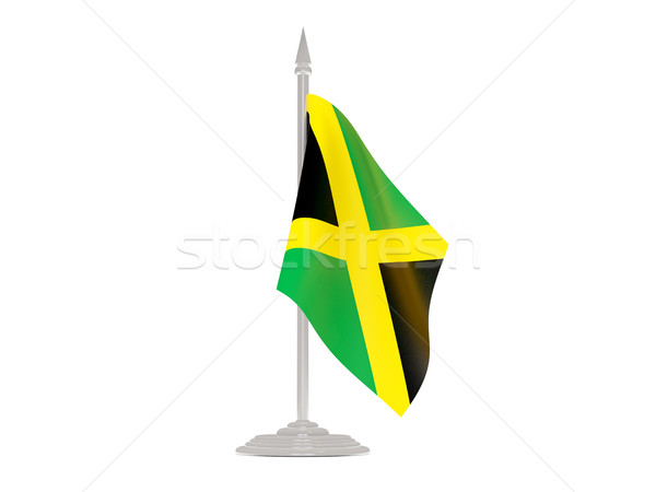 Flag of jamaica with flagpole. 3d render Stock photo © MikhailMishchenko