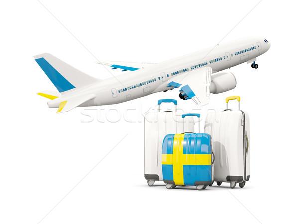 Foto stock: Equipaje · bandera · tres · bolsas · avión · aislado