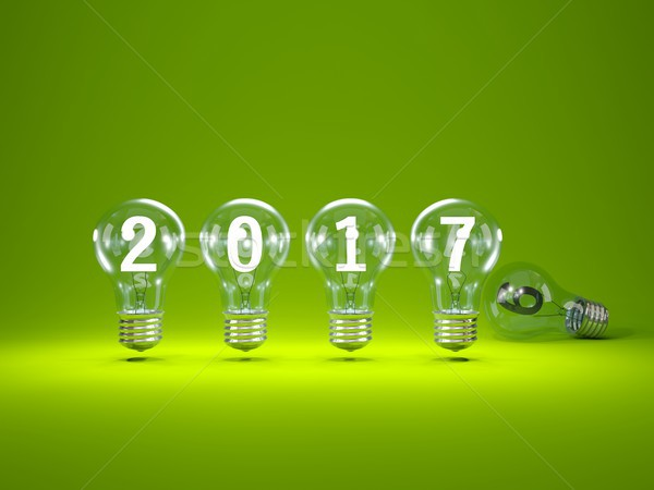 Stock photo: 2018 New Year sign inside light bulbs