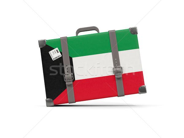 Luggage with flag of kuwait. Suitcase isolated on white Stock photo © MikhailMishchenko