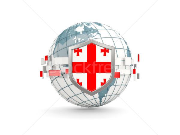 Wereldbol schild vlag Georgië geïsoleerd witte Stockfoto © MikhailMishchenko