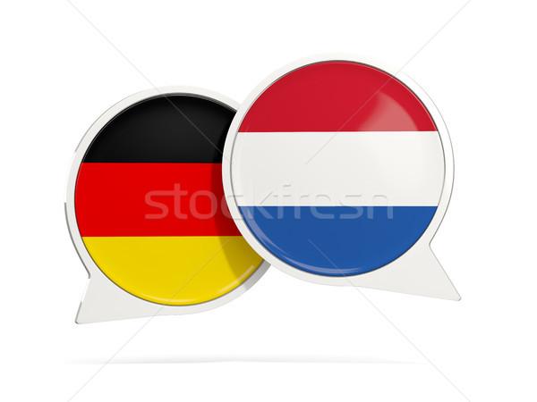 Chat Blasen Deutschland Niederlande isoliert weiß Stock foto © MikhailMishchenko