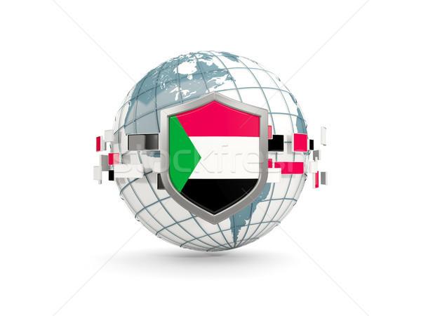 Földgömb pajzs zászló Szudán izolált fehér Stock fotó © MikhailMishchenko
