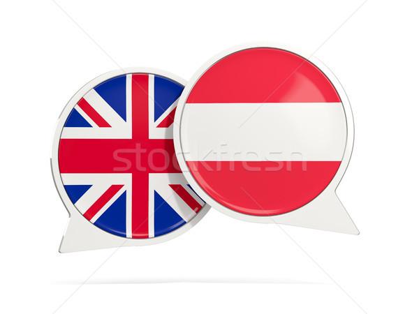 Stock fotó: Chat · buborékok · Ausztria · izolált · fehér · 3d · illusztráció