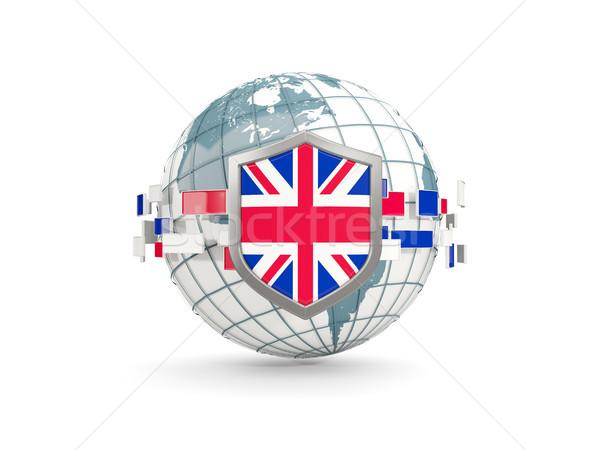Globe and shield with flag of united kingdom isolated on white Stock photo © MikhailMishchenko