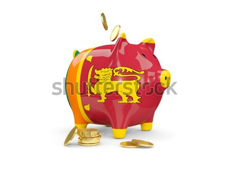 Fat piggy bank with fag of maldives Stock photo © MikhailMishchenko