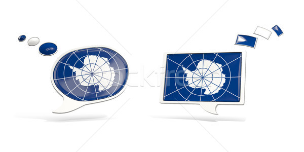 Two chat icons with flag of antarctica Stock photo © MikhailMishchenko