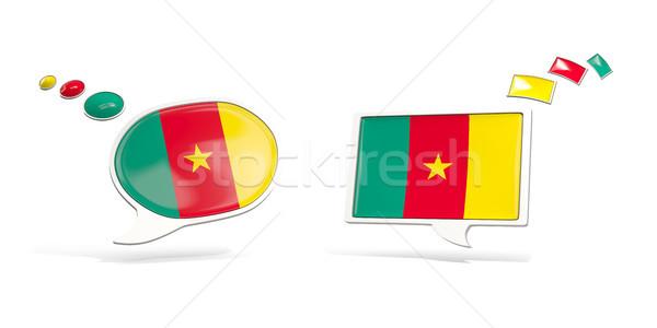 Dois conversar ícones bandeira Camarões praça Foto stock © MikhailMishchenko