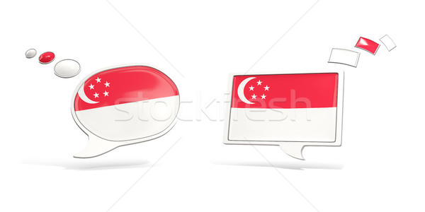 два чате иконки флаг Сингапур квадратный Сток-фото © MikhailMishchenko