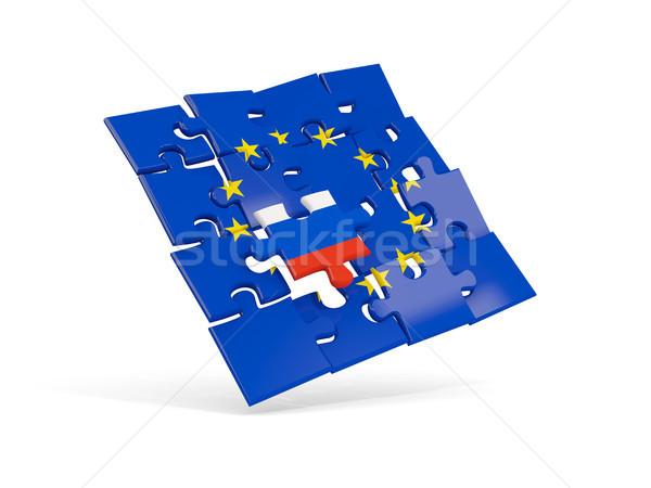 Puzzle flag of european union and flag of Russia Stock photo © MikhailMishchenko