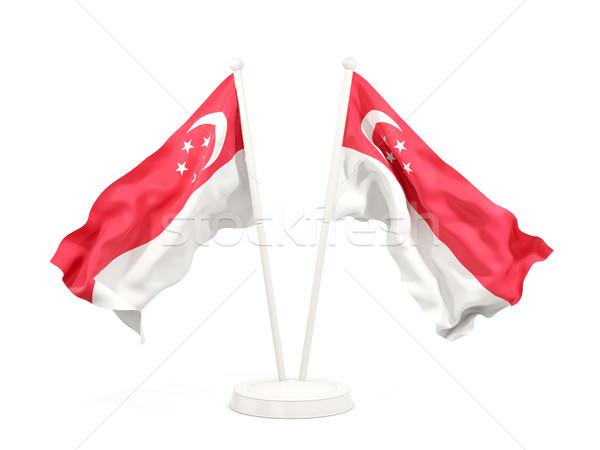 Twee vlaggen Singapore geïsoleerd witte Stockfoto © MikhailMishchenko
