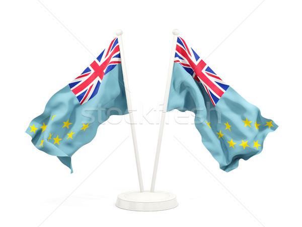 Dois bandeiras Tuvalu isolado branco Foto stock © MikhailMishchenko
