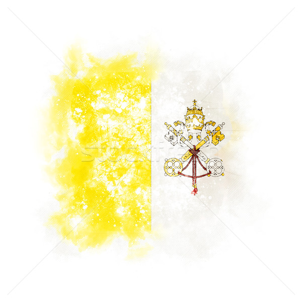 квадратный Гранж флаг Ватикан 3d иллюстрации ретро Сток-фото © MikhailMishchenko