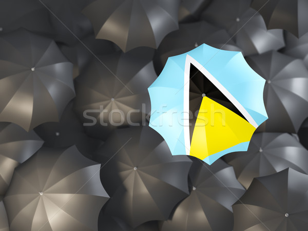 Umbrella with flag of saint lucia Stock photo © MikhailMishchenko
