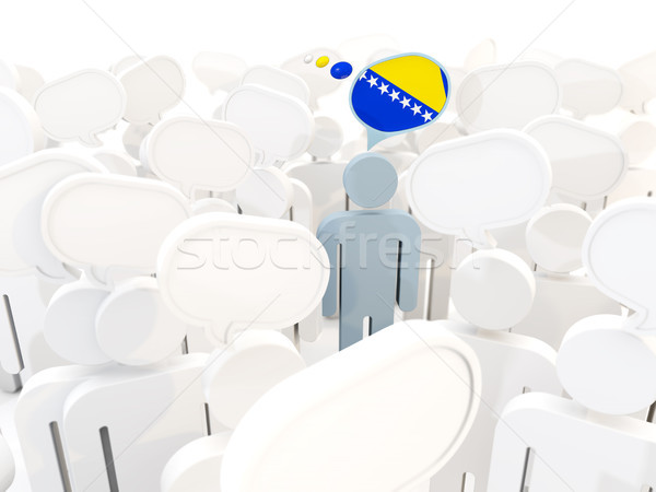 Hombre bandera Bosnia Herzegovina multitud 3d blanco Foto stock © MikhailMishchenko
