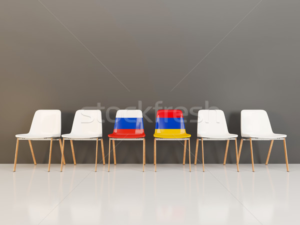 Chairs with flag of Russia and armenia Stock photo © MikhailMishchenko
