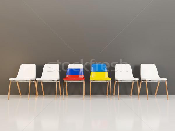 стульев флаг Россия Украина 3d иллюстрации Сток-фото © MikhailMishchenko