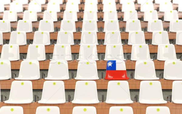 Stadyum koltuk bayrak Şili beyaz Stok fotoğraf © MikhailMishchenko