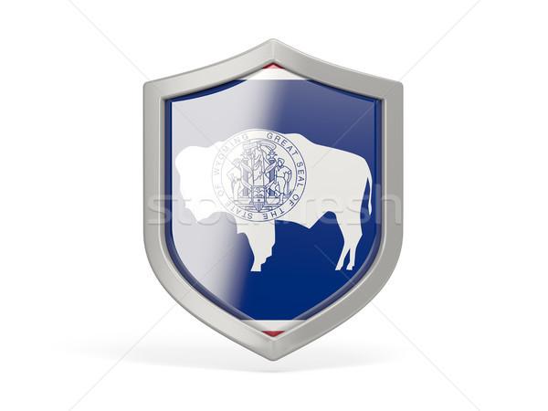 Escudo icono bandera Wyoming Estados Unidos local Foto stock © MikhailMishchenko