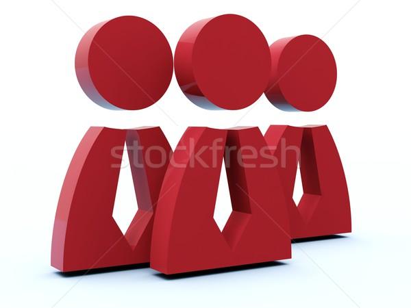 Сток-фото: группа · людей · икона · синий · красный · интернет · человека