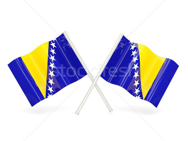 Bandera Bosnia Herzegovina dos ondulado banderas aislado Foto stock © MikhailMishchenko