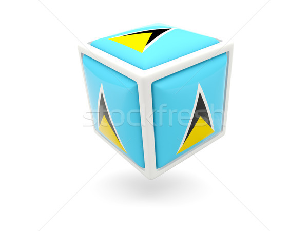 Flag of saint lucia. Cube icon Stock photo © MikhailMishchenko