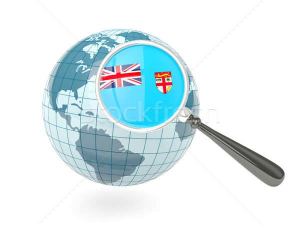 Magnified flag of fiji with blue globe Stock photo © MikhailMishchenko