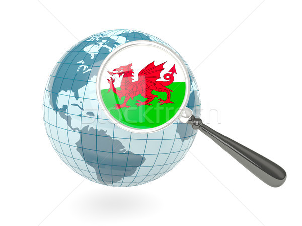 Ampliada bandera gales azul mundo aislado Foto stock © MikhailMishchenko