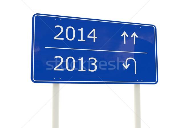 2014 új év jelzőtábla izolált fehér felirat Stock fotó © MikhailMishchenko