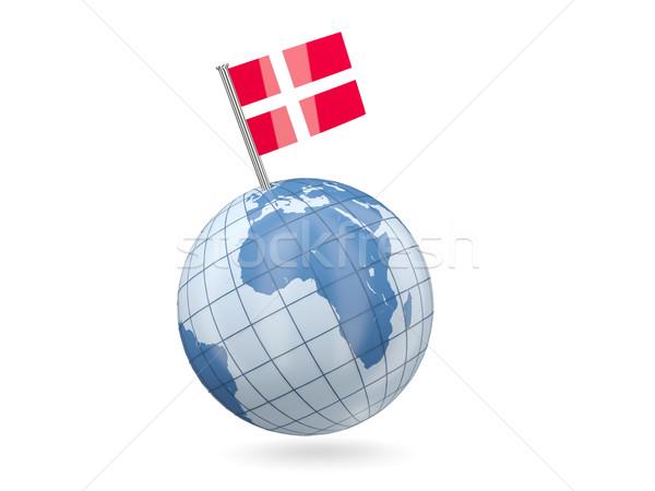 Wereldbol vlag Denemarken Blauw geïsoleerd witte Stockfoto © MikhailMishchenko