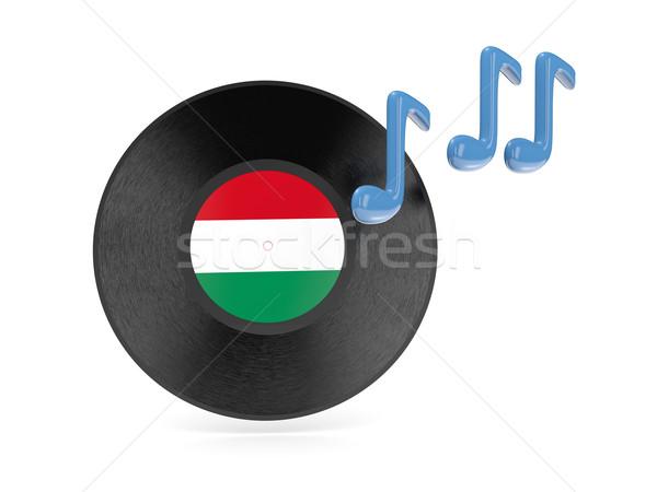 Vinyl schijf vlag Hongarije geïsoleerd witte Stockfoto © MikhailMishchenko