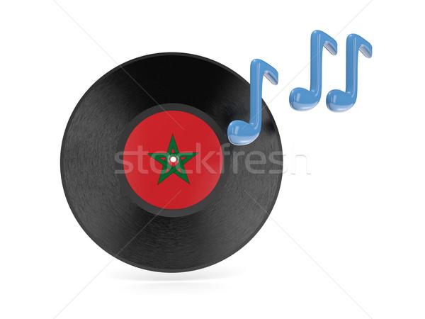 Bakelit lemez zászló Marokkó izolált fehér Stock fotó © MikhailMishchenko