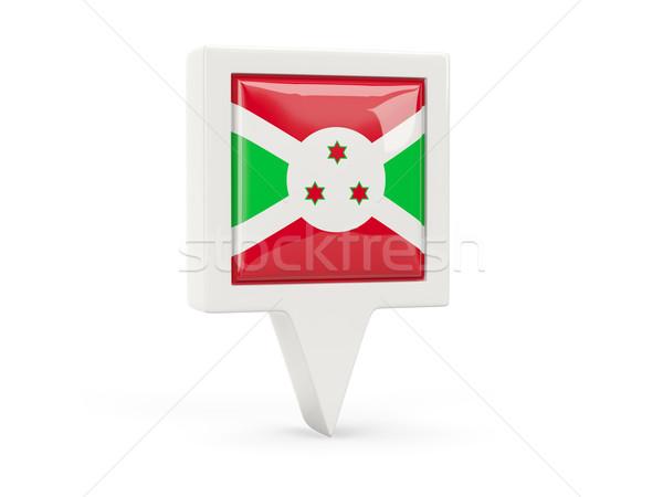 Praça bandeira ícone Burundi isolado branco Foto stock © MikhailMishchenko