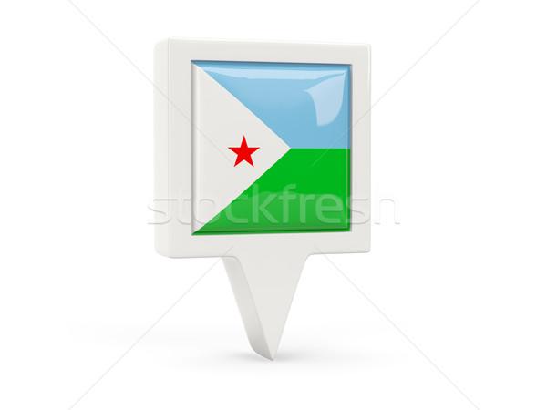 Placu banderą ikona Dżibuti odizolowany biały Zdjęcia stock © MikhailMishchenko