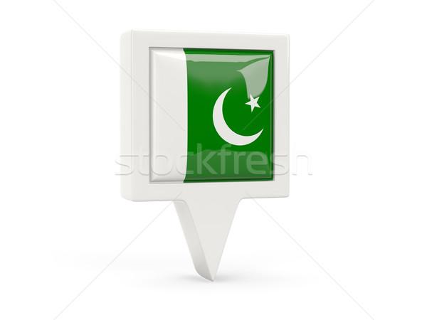 Kare bayrak ikon Pakistan yalıtılmış beyaz Stok fotoğraf © MikhailMishchenko