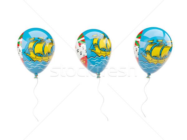 Stockfoto: Lucht · ballonnen · vlag · geïsoleerd · witte