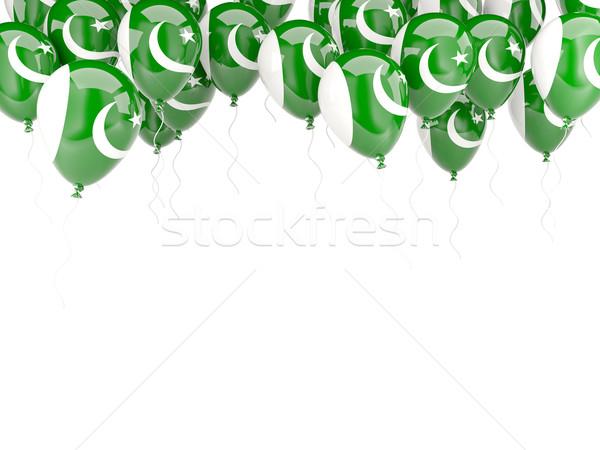 Léggömb keret zászló Pakisztán izolált fehér Stock fotó © MikhailMishchenko