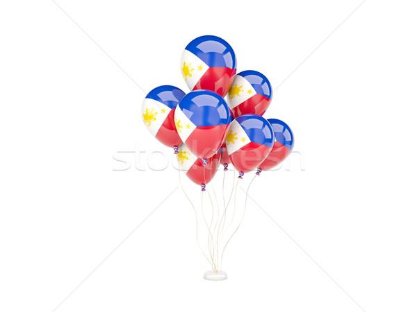 Uçan balonlar bayrak Filipinler yalıtılmış beyaz Stok fotoğraf © MikhailMishchenko