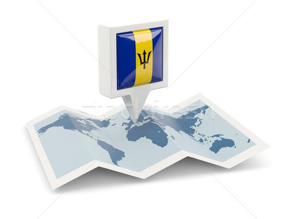 квадратный Pin флаг Барбадос карта путешествия Сток-фото © MikhailMishchenko