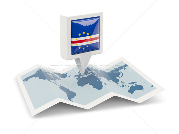 Square pin with flag of cape verde on the map Stock photo © MikhailMishchenko