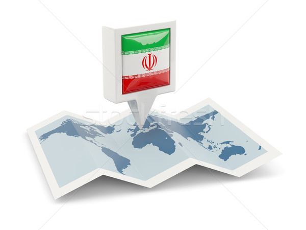 Square pin with flag of iran on the map Stock photo © MikhailMishchenko
